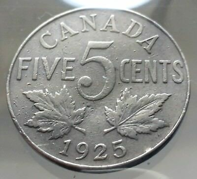 1925 Canada 5 Cents Nickel Coin - RARE KEY DATE - Antique Vintage Canadian Coin