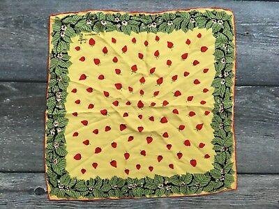 "Vintage Symphony Scarf / Handkerchief / Strawberries 16"" by 16"""