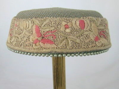 Bes-Ben Pillbox Hat with Embroidery Including Tiny French Knots Faux Pearl Trim