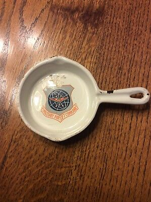 Vintage Military Airlift Command White Enameled Mini Cast Iron Skillet Ashtray