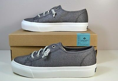 a358682db4 Nib Sperry Top Sider Sky Sail Grey Shimmer Canvas Sneakers Platform Shoes  6-10