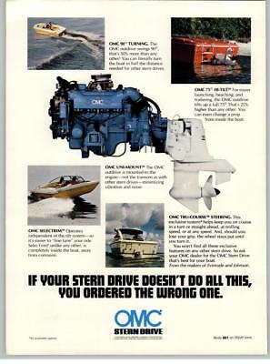 OMC Stern Drive Marine Boat Outboard Motor Engine 1976 Print Ad