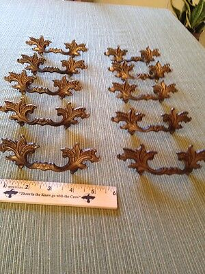 "10 Vtg Antique Fancy SHABBY CHIC Provincial Brass Pull Handle Drawer 2 1/2"" CC"