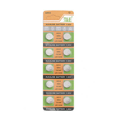 10 X AG10, LR1130W, CX189 1.5v Button/Coin Battery Alkaline Cell Best Quality