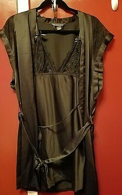 NWOT Large Victoria's Secret Very Sexy Slip & Robe black Satin and Lace Set $78