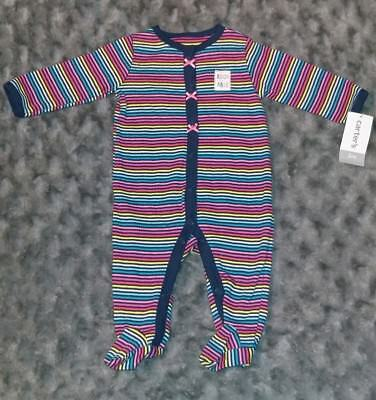 NWT Carters Baby Girl Clothes 3 Months One Piece Striped Footie Pajama Sleeper