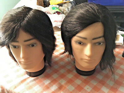 Cosmetology Mannequin Doll Head - Male - 100% Real Human Hair - TWINS!!!