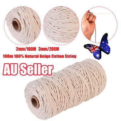 100m/200m 100% Natural Cotton String Twisted Cord Beige Craft Macrame Artisan Ee
