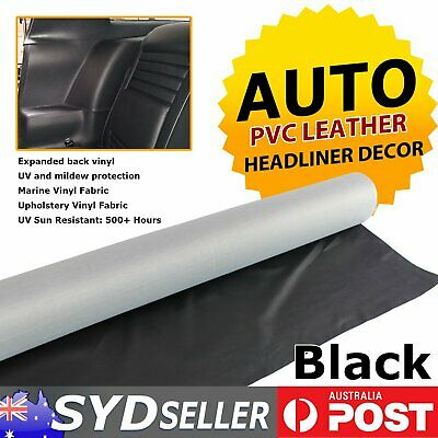 Faux Leather Marine Vinyl Car Boat Upholstery UV Resistant Restore Fabric Black