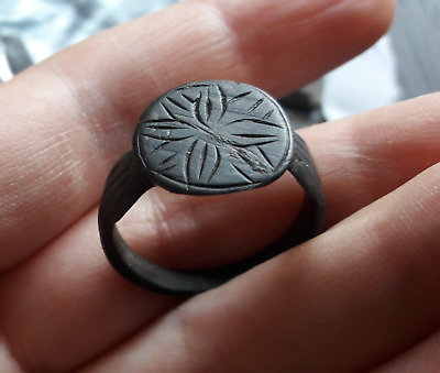 Antique Bronze Ring Post-Medieval Old with Engraved #8