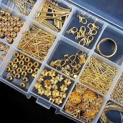 Jewellery Making Accessory Gold Plated Beads Pliers Chain Cord Tools w/ Box Set