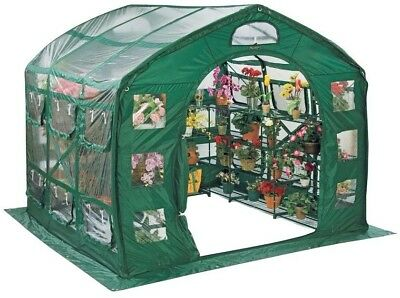 9ft Portable Plastic Farmhouse Greenhouse Plants Protection Nursery Garden Shed