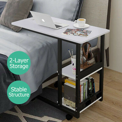 Over bed Laptop Notebook Computer PC Side Desk Table Tray With Wheels 2-Layer