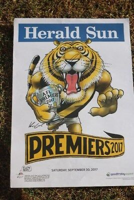 Afl Richmond Tigers Dusty Martin Signed Herald  Sun Premiership Poster -2017-