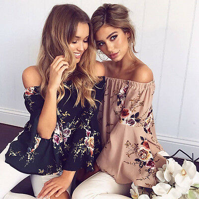 Women Casual Off Shoulder Blouse Top Short Sleeve Floral Loose Strapless T Shirt
