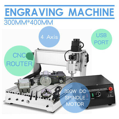 4 Axis 3040T CNC Router Engraver 3D Engraving Machine Drilling Milling Wood