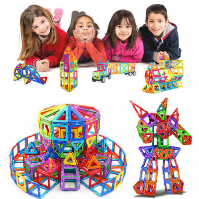 166 pcs Kids DIY 3D Magnetic Blocks Multicolour Construction Building Toy Puzzle