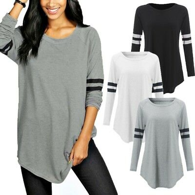 Women Long Sleeve Baseball Shirt Basic T-shirt Tee Top Plus Size Tunic Blouse