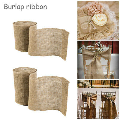 10m 20m Trims Tape Rustic Wedding Party Natural Jute Burlap Hessian Ribbon Lace