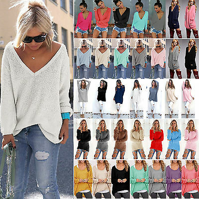 Women Winter Long Sweater Loose Casual Knitted Pullover Jumper Top Blouse Shirt