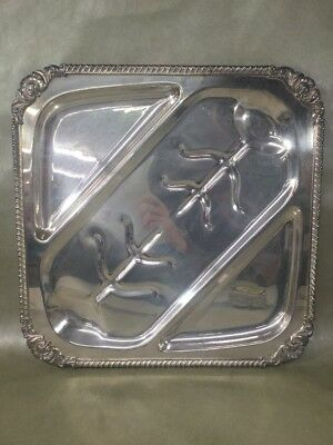 Vintage English Silver MFG Large Silver Plate Divided Meat Serving Platter Tray