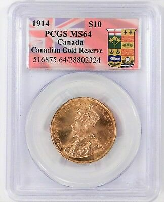 1914 Canadian $10.00 Gold PCGS MS64 !!