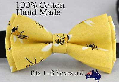 Boy Kids Baby Page Boy Yellow Bees 100% Cotton Bow Tie Bowtie 1-6 Years Old