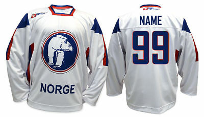 Team Norway WHITE Ice Hockey Jersey Custom Name and Number