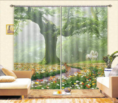 Shadows Of Tree 3D Blockout Photo Curtain Print Curtains Fabric Kids Window