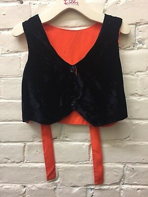 Vintage M Black Fancy Vest Velvet Orange Back & Ties Handmade EC