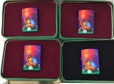 Group Of 4 1993 Zippo Lighters Joe Camel Pool Player In Tins CZ 17 MIB