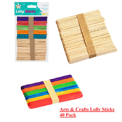 80 LOLLY STICKS Ice Craft Wooden Coloured Arts Kids Toys Lollypop Popsicle Model