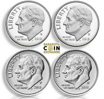 2018 S,S,P,D Roosevelt Dimes Silver Proof, Proof, P,D Gems All 4 Update PRESALE