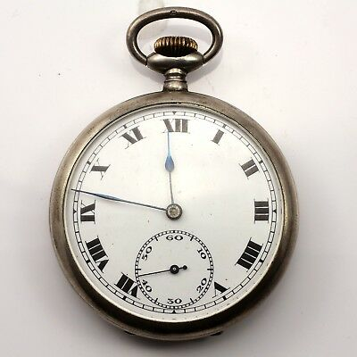 Antique Sterling Silver Pocket Watch Good Condition Running