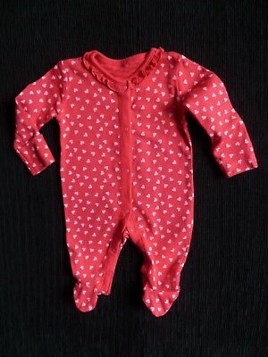 Baby clothes GIRL newborn 0-1m<9lb/4.1kg red/pink heart frill babygrow SEE SHOP!