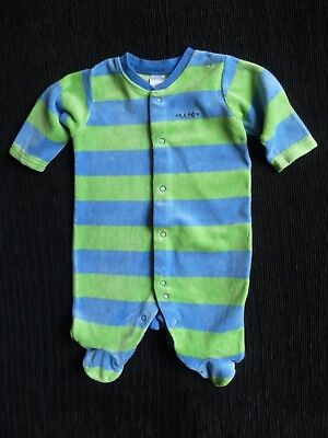 Baby clothes BOY 0-3m NEXT blue/green wide stripe soft velour babygrow SEE SHOP!