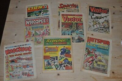 mix of 1970s comics inc. Victor, Hotspur, scorcher, whoopee, Sparky and Lion
