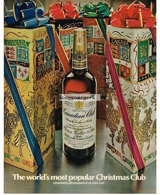 1969 CANADIAN CLUB Whiskey Surrounded by Christmas Gift Boxes Vtg Print Ad