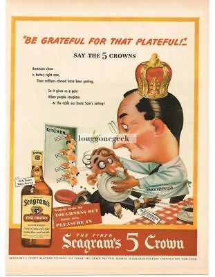 1944 Seagram's 5 CROWN Whiskey Stop Complaining poem Vtg Print Ad