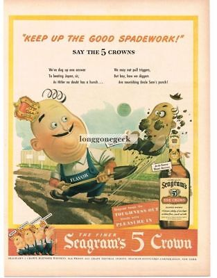 1944 Seagram's 5 CROWN Whiskey WW2 Patriotic Message poem Vtg Print Ad
