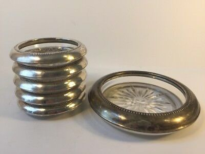 "Set of 5 Vintage B-I Sterling Silver Cut Glass Coasters, 4.5"" w/ Bottle Coaster"