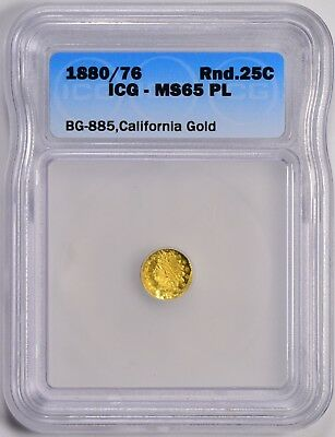 1880/76 Round Indian G25C ICG MS65 PL BG-885 California Fractional Gold