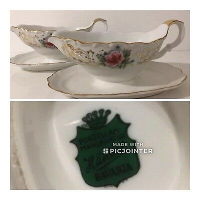 Two Vintage Bavaria Händel Porcelain gravy sauce boat bowl dish possible creamer