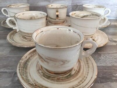 Vintage Handmade 6 Person Tea Cafe Greece Anapale 24K Gold Service
