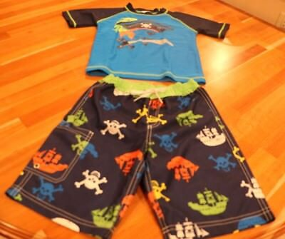 Hanna Andersson boys pirate swim trunks and rash guard size 120/ US 6-7