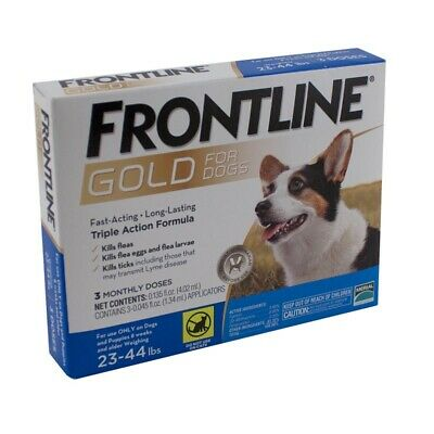 Frontline Plus Dogs 23-44  pounds 3 Pack Free Shipping