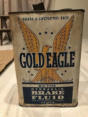 Old Antique Gold Eagle Hydraulic Break Fluid Can Gas Oil Man Cave