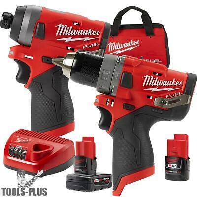 "Milwaukee 2598-22 M12 FUEL 1/2"" Hammer Drill + 1/4"" Hex Impact New"
