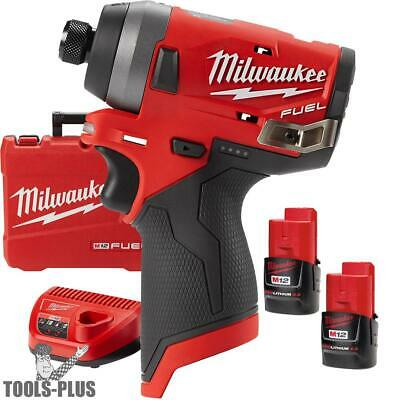 "Milwaukee 2553-22 M12 FUEL 1/4"" Hex Impact Driver w/ 2 2.0ah Batts + Charger New"