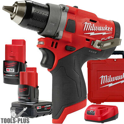 "Milwaukee 2503-22 M12 FUEL 1/2"" Drill Driver w/ 2ah,4ah Batts+Charger New"